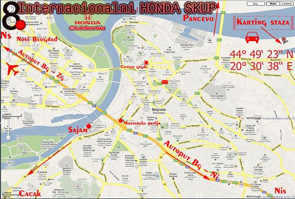 Mapa - Ada Huja Karting Centar